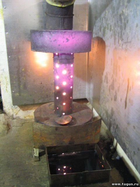 Печка на отработанном масле схема